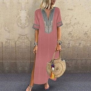 NWT pink embroidered style maxi caftan shirt dress